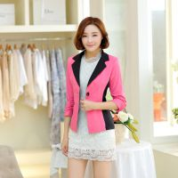 2015春季新品小西服 韩版修身拼色休闲 糖果色时尚女式外套西装
