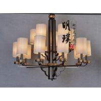 明璞酒店布艺吊灯 供应酒店工程灯 餐厅新中式吊灯加盟 专业生产灯具厂