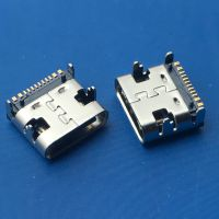 3.1-12P母座USB TYPE-C 3.1单排贴片SMT/ 16P四脚 3A电流 有柱/不锈钢