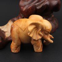 工厂直销 太行崖柏手把件大象雕刻 养生木质工艺品摆件吉祥物批发