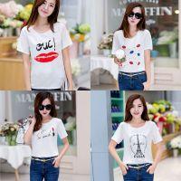青春流行韩国宽松短袖圆领上衣打底衫简约印花百搭学生雪纺T恤女