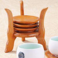 福容 茶具茶道用品竹制杯垫 方形圆形茶杯垫隔热垫 茶业配套商品