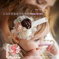 厂家直销儿童发饰批发欧美宝宝发带3朵玫瑰蕾丝花朵头花 头带8色