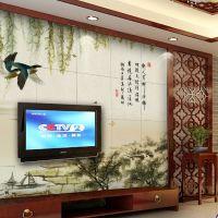 瓷砖背景墙中式简约现代客厅电视墙彩雕 艺术玄关壁画