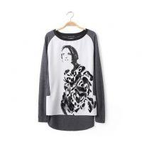 BEI.B--Z/ET 韩版新款插肩袖立体印花长袖宽松圆领女式T恤 打底衫