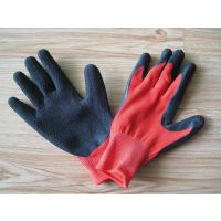创英13针红纱黑胶乳胶皱纹手套尼龙劳保耐油耐磨耐酸碱手部防护