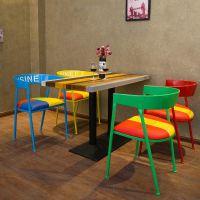 海德利厂家定制 复古奶茶甜品店咖啡厅餐桌椅 美式乡村铁艺餐椅loft实木餐桌椅