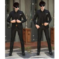 雅妃纶西服套装男士韩版修身休闲西装男套装商务职业正装新郎礼服