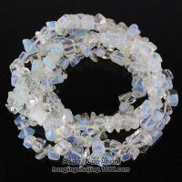蛋白石碎石半成 带孔人蛋白石加白水晶散珠串珠 DIY配件 批发