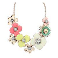 M038  欧美日韩新款小清新 彩色花朵镶钻项链批发 速卖通热卖