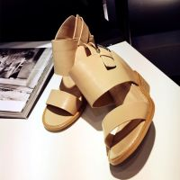 夏季2015欧美新款真皮鱼嘴凉鞋坡跟高跟一字式扣带罗马女凉鞋