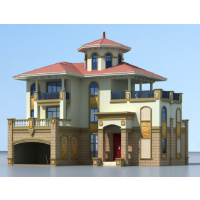 带室外平台、落地窗三层独栋别墅CAD图纸18.5x15.4米
