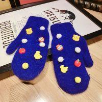 宝蓝色莫妮卡威尼熊超可爱韩国兔毛羊毛卡通连指加厚手套