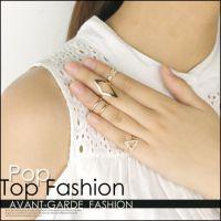 ebay速卖通爆款欧美风时尚百搭镶钻箭头菱形三角形关节套装戒指