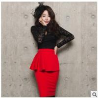 2015春装新款韩版女装蕾丝上衣 立领修身时尚气质蕾丝打底衫