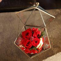 批发永生花主材:1朵进口5-6CM炫色玫瑰,2朵进口3-4CM玫瑰