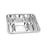 博时酒店用品304不锈钢快餐盘无磁不锈钢饭盘食堂单位分格菜盘五格六格盘