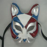 手绘动物面具,纸浆环保猫脸面具,万圣节舞会面具