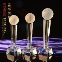 篮球比赛奖品 水晶纪念奖杯 水晶奖杯 现货六角柱 精兴工艺