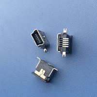 MINI USB 5p 母座 鱼叉固定脚 沉板式 直边90度立式贴片母座