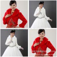 供应批发新娘披肩 秋冬保暖长毛领棉袄 婚纱礼服披肩P716米白红色混批
