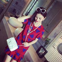 小银子2015春夏新款时尚街拍气质爱心几何荷叶摆连衣裙女Q4101