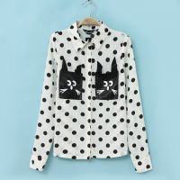 14春夏新款欧美风可爱猫咪波点长袖衬衫女式衬衣打底衫女士上衣