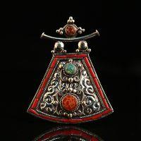 厂家热销尼泊尔首饰品 藏传镶绿松石精美浮雕吊坠项牌纯铜项坠