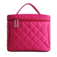 手提化妆包 韩版菱格化妆箱大号收纳包大容量折叠时尚化妆包