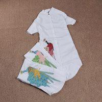 调调家欧洲站女装货源2015夏季新品孔雀刺绣小立领蝙蝠袖长款衬衫