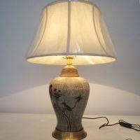 北京中元之光欧式现代陶瓷台灯卧室床头灯客厅手绘花鸟全铜布罩台灯