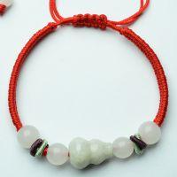 正品玉手链特价 天然翡翠A货豆种葫芦手工编织手链 女士红绳手链