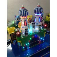 爆款玻璃钢摇摆机城堡列车小型轨道火车旋转小蜜蜂儿童投币游戏机
