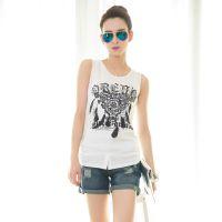 2015夏季新款女装 韩版 修身莫代尔圆领女式背心 羽毛图案打底衫