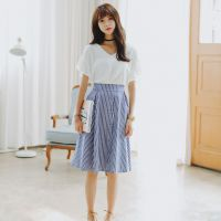 实拍2015夏季新款韩国东大门代购显瘦两件套裙白色上衣条纹长裙潮