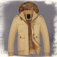时尚男式夹克加绒中年男士夹克 2015厚款连帽冬装 男装保暖外套