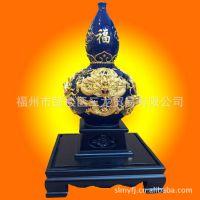 鹭艺轩厦门漆线雕12寸H067五龙葫芦兰瓶摆件漆器工艺礼品 福州