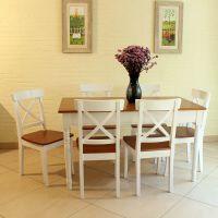 美式乡村 实木 厨房 餐桌椅 欧式田园 双色餐桌 椅子 组合促销