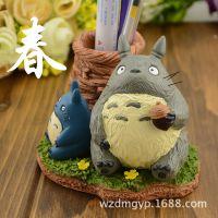宫崎骏动漫系列 龙猫公仔树脂笔筒 春夏秋模型摆件 创意礼品