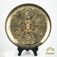 巴基斯坦铜雕挂盘现货批发 异域特色手工艺品 花色多尺寸全 BH057