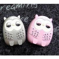 中兴女生必备支持通用手机可爱充电宝 卡通创意移动电源猫头鹰眼睛发光