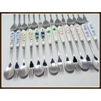 供应三件套餐具|韩式陶瓷刀叉勺套装|礼品彩盒套装|单支小额批发