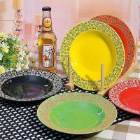 陶瓷餐具出口日式釉下彩 雕刻 创意盘子 8寸菜盘五彩盘子圆盘