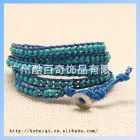5圈绿松石手链 时尚皮绳手链 E-1114