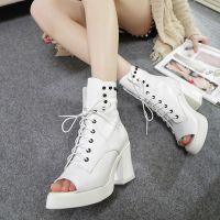 丽人特价清仓 系带铆钉时尚鱼嘴靴 黑白两色粗跟女单靴K629-1