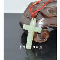 青坤玉器 天然新疆和田玉十字架吊坠青白玉耶稣玉坠籽料挂饰批发