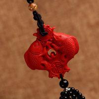 天然红朱砂双鱼葫芦汽车挂件车内饰品高档招财挂饰平安符福禄水晶