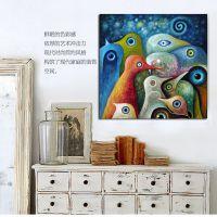鸟的天空 客厅书房卧室装饰画现代抽象无框画 电表箱油画墙壁挂画