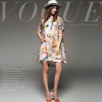 夏季新款欧美女装欧洲站高端定制气质印花A型高端丝麻连衣裙