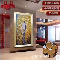 发财树油画 欧式山水风景抽象纯手绘定制走廊客厅装饰画玄关挂画